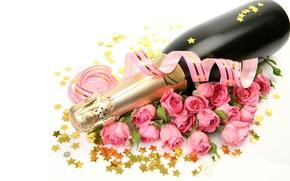 Wallpaper stars, bottle, roses, champagne