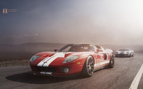 Picture Ford, Red, Cars, Sun, White, Road, Ligth