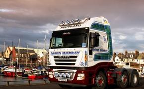 Picture home, boats, pier, Scotland, truck, tractor, Trak, Iveco stralis 500, skotland