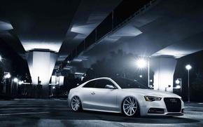 Picture Audi, white, stance, vossen wheels