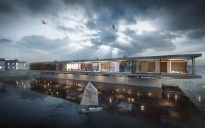 Picture design, glamor, houseboat