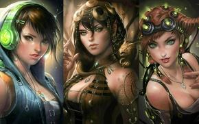 Picture dragon, technique, art, fantasy, elf, Girl