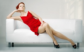 Picture look, girl, sofa, dress, shoes, red, blue-eyed
