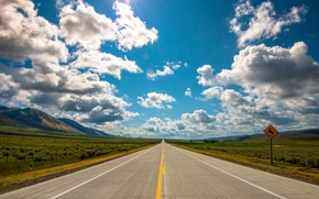 Wallpaper field, mountains, road, the sky, horizon, clouds