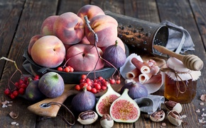 Picture berries, nuts, still life, honey, peaches, figs, grater, figs, ham