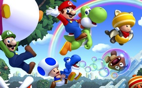 Picture leaves, trees, mushrooms, rainbow, Mario, Mario, Nintendo, Wii U, Luigi, Luigi, bubble, Super Mario Bros. …