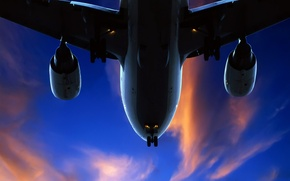 Wallpaper the plane, the sky, 157, clouds