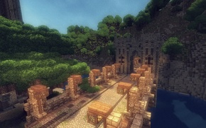 Picture the sky, grass, water, trees, bridge, river, tower, mountain, blocks, gate, lantern, the tunnel, Minecraft