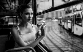 Picture sadness, drops, window, ballerina