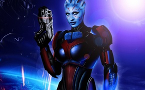 Picture girl, weapons, armor, mass effect, fan art, Azari