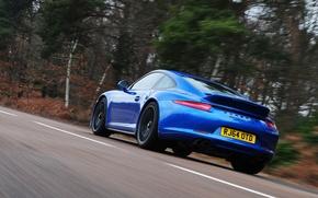 Picture car, machine, blue, coupe, 911, Porsche, sports car, road, Coupe, blue, Carrera 4 GTS