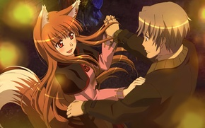 Picture girl, joy, lights, dance, the evening, tail, male, spice and wolf, craft lawrence, holo, arakawa …