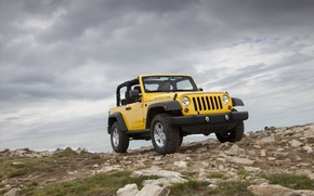 Wallpaper jeep, yellow, SUV, mountains, Jeep Wrangler 2011
