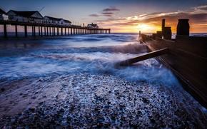 Picture wave, beach, the sky, the sun, clouds, sunrise, stones, shore, Sea, morning, fence, pierce, surf, …