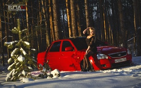 Picture winter, machine, auto, girl, snow, red, auto, LADA, Priora, VAZ, BPAN, Prior