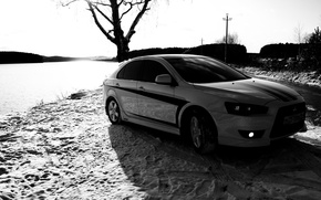 Wallpaper black and white, Tree, Snow, Traces, Mitsubishi, Lancer X10