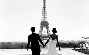 Picture Wallpaper, Paris, b/W, the bride, the groom