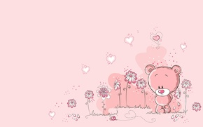 Picture summer, flowers, heart, snail, art, bear