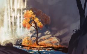 Picture autumn, light, river, stones, tree, waterfall, art, Chibionpu