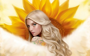 Picture girl, wings, sunflower, angel, tattoo