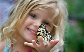 Picture insects, children, background, Wallpaper, butterfly, mood, child, blonde, girl, curls