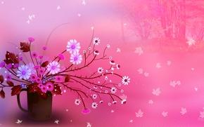 Picture leaves, flowers, bouquet, texture, still life