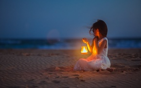 Picture sand, sea, shore, meeting, lamp, child, Girl, girl, waiting, beach, sea, sand, lamp, kid, waiting