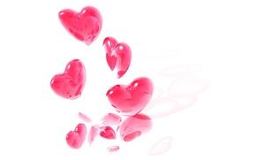 Wallpaper minimalism, white background, heart, romance, hearts, love, pink