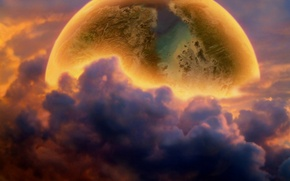 Picture Moon, Clouds, Planet