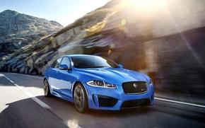 Picture Jaguar, Auto, Blue, Machine, Jaguar, Sedan, Blik, The front, XFR-S