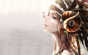 Picture girl, butterfly, horns, profile, art, bouno satoshi
