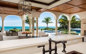 Picture pool, ocean, luxury, terrace, palm