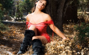 Picture forest, grass, leaves, girl, trees, denise milani