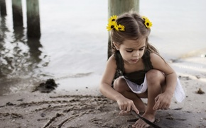 Wallpaper beach, mood, girl