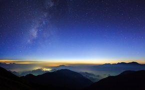 Picture stars, clouds, night, the city, lights, hills, view, height, starry sky