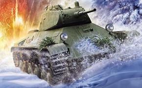 Picture winter, snow, figure, art, T-50, Soviet light tank