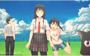 Picture cat, girl, girl, guy, anime, art, kuramoto chinatsu, kowata Makoto, key kun, kuramoto, kei, flying …