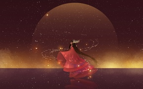 Picture girl, stars, magic, wings, anime, art, hanyijie