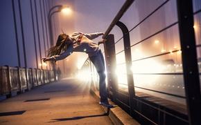 Picture lights, bridge, light, night, girl, railings
