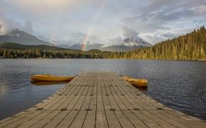 Picture rainbow, lake, pier, dock