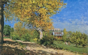 Picture picture, garden, tree, summer, clouds, the sky, Alfred Sisley, landscape