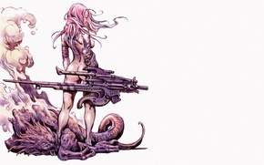 Picture body, back, Girl, monster, tail, claws, white background, comics, pink hair, evaporation, super-weapons