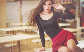 Picture Girl, Red, Table, Model, Girl, Hair, Skirt, Model, Table, Beautiful, Hair, Skirt, Lina, Lina
