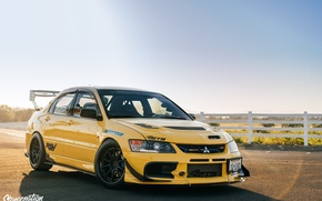 Picture turbo, mitsubishi, japan, jdm, tuning, lancer, evolution, evo, front, face, low, stance, yelow