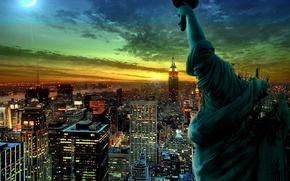 Picture night, lights, New York, statue
