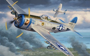 Picture war, art, painting, drawing, ww2, illustration, american aircraft, P-47 Thunderbolt