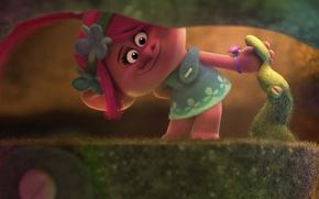 Wallpaper fantasy, forest, magic, flower, pink hair, dress, pink, DreamWorks, chibi, cartoon, singer, hero, queen, Justin ...