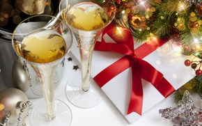 Wallpaper gift, balls, tree, sequins, Star, champagne
