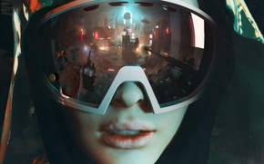 Wallpaper reflection, hood, revolution, the city, girl, glasses, Homefront: The Revolution, machine