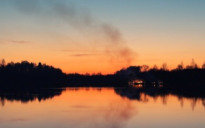 Picture sunset, lake, fire